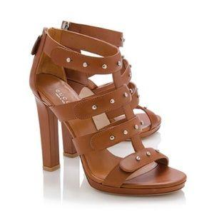 Gucci Studded Sigourney Gladiator Sandal heels